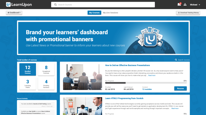 Brand the learner's dashboard with promotional banners