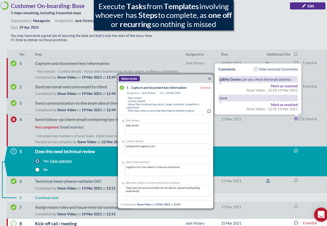 Execute as team task checklists and capture information or documents as you work through.