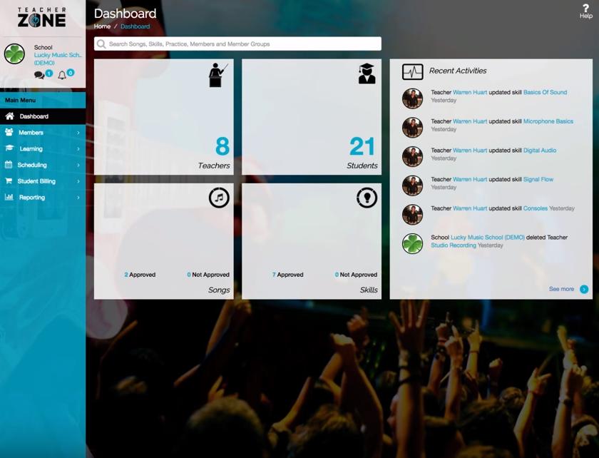 TeacherZone dashboard screenshot