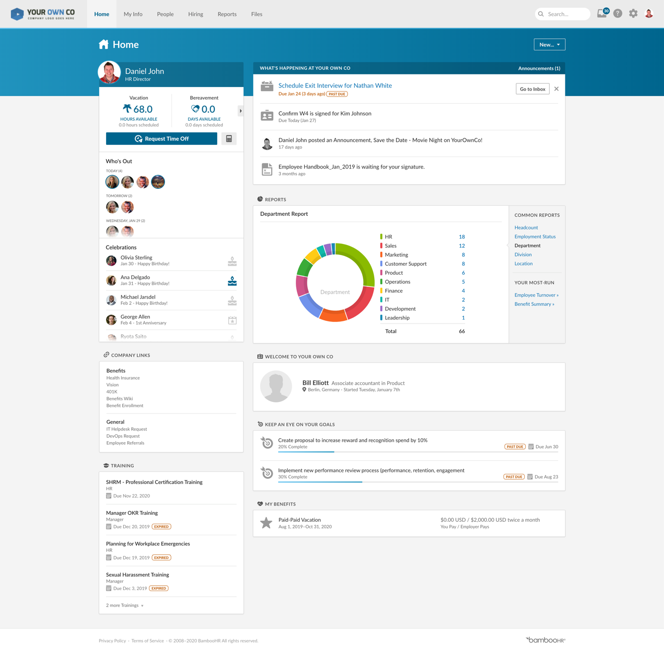 BambooHR Home - Employee View