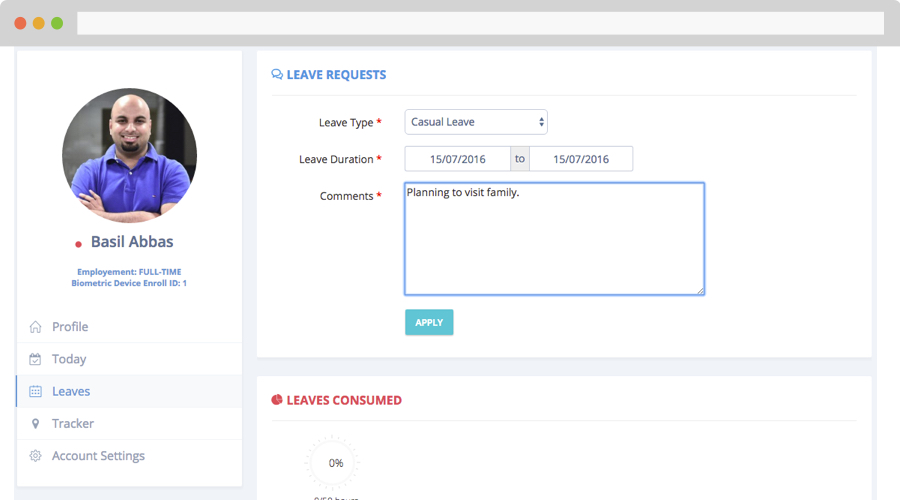 Leave request portal for employees