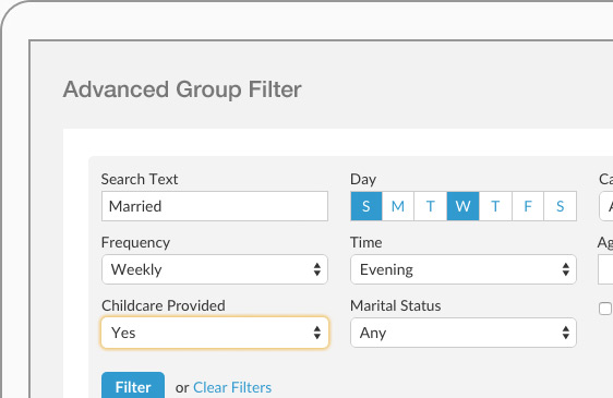 Users can filter groups in Realm using multiple criteria