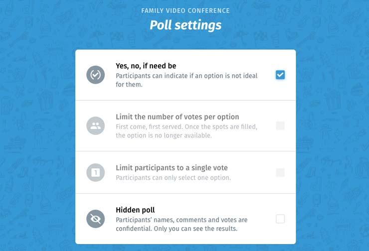 Doodle Poll settings