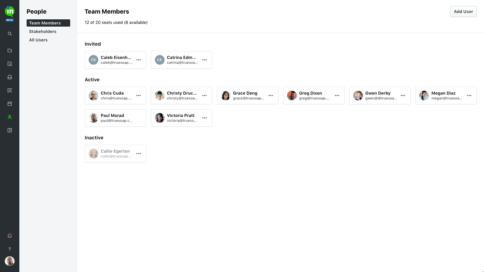 Admins can manage active team members, user roles, and stakeholders from the People page. Easily add new users, deactivate old ones, and update user access in one place.