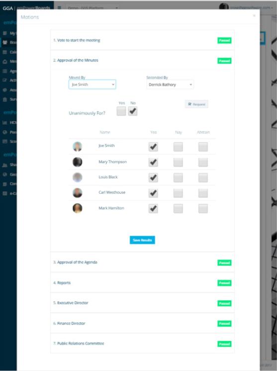 emPower Digital Boardroom Platform motions screenshot