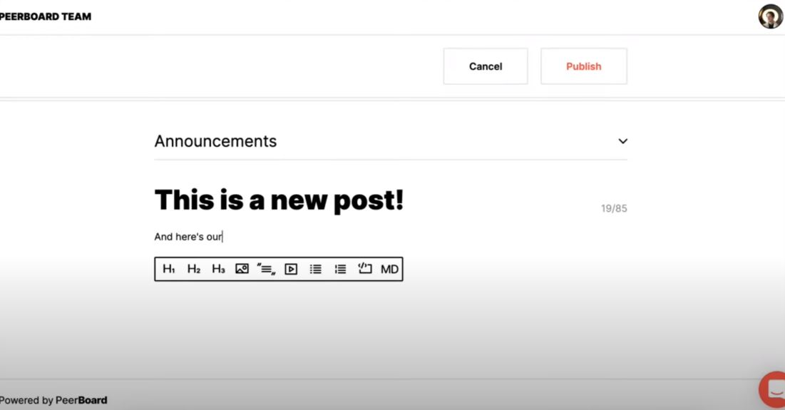 PeerBoard create new post