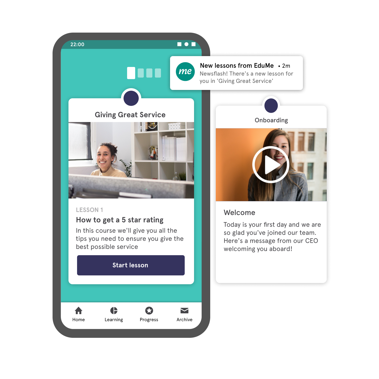 EduMe screenshot: Share bitesize learning content with your remote workforce