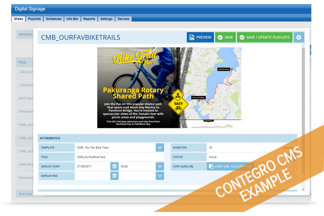 Users can manage slide content via the web portal interface and see instant updates as they type and edit slide content with dynamic preview