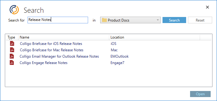 Colligo Email Manager for Microsoft 365 search functionality