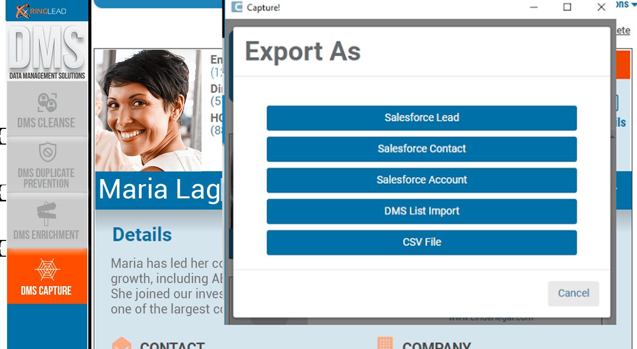 Capture export leads