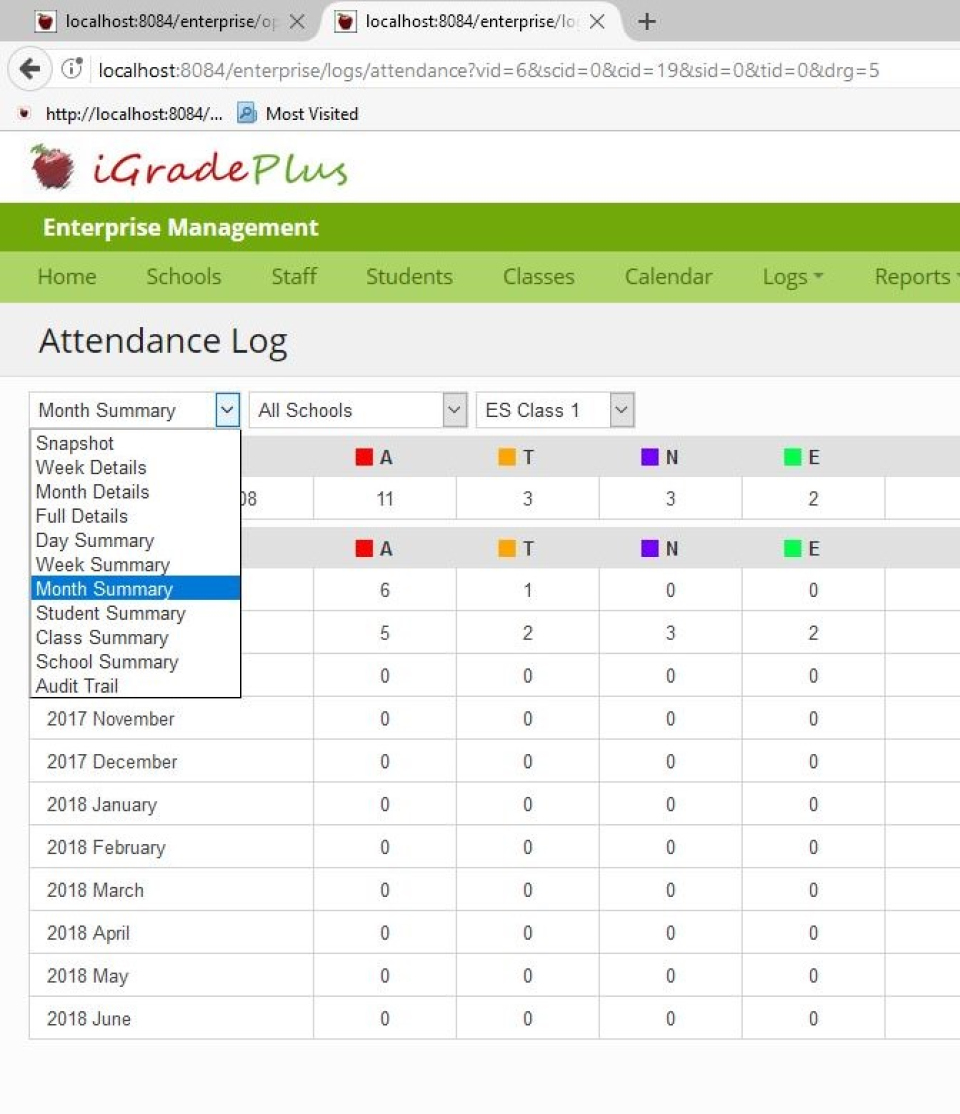 Attendance reports can be generated for specific time periods with daily, weekly, or monthly summaries and student, class, or school summaries