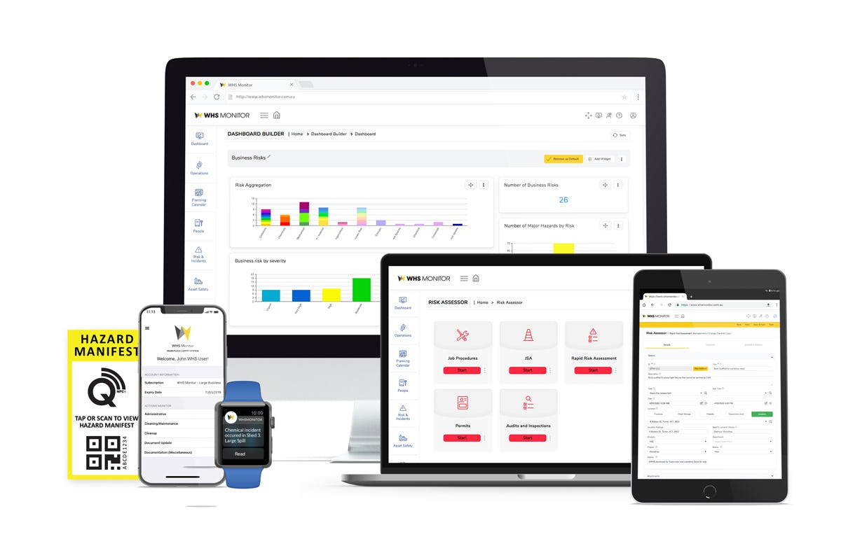WHS Monitor Software - WHS Monitor is a modular, cloud-based Work Health and Safety compliance management system which enables organisations to simply and effectively comply with their Work Health and Safety obligations. All your safety information in one place when you need it