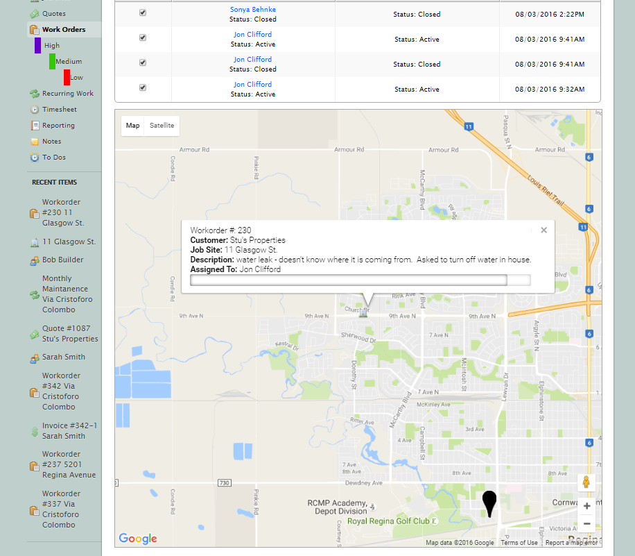 GPS Tracking and OnSite Check-in's with History