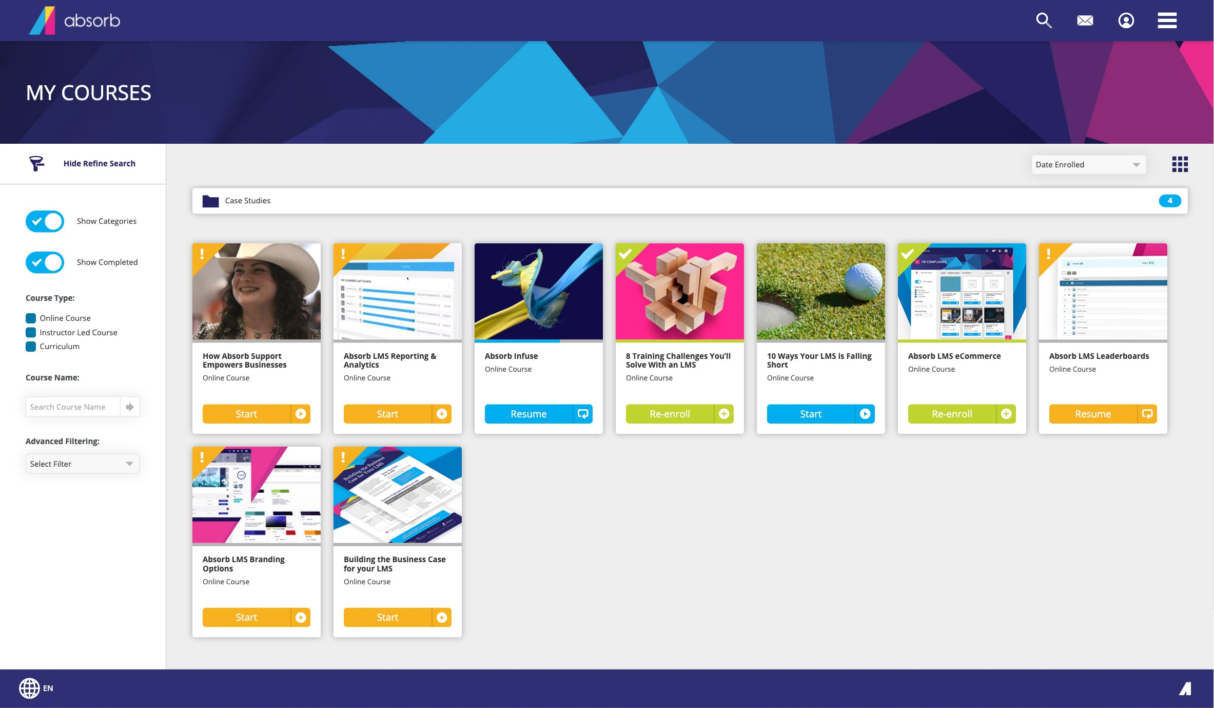 Absorb LMS Software - Learner Course Search