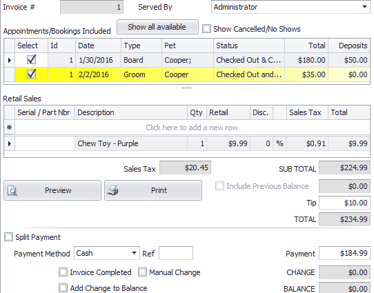 Customer payments can be tracked in PetLinx