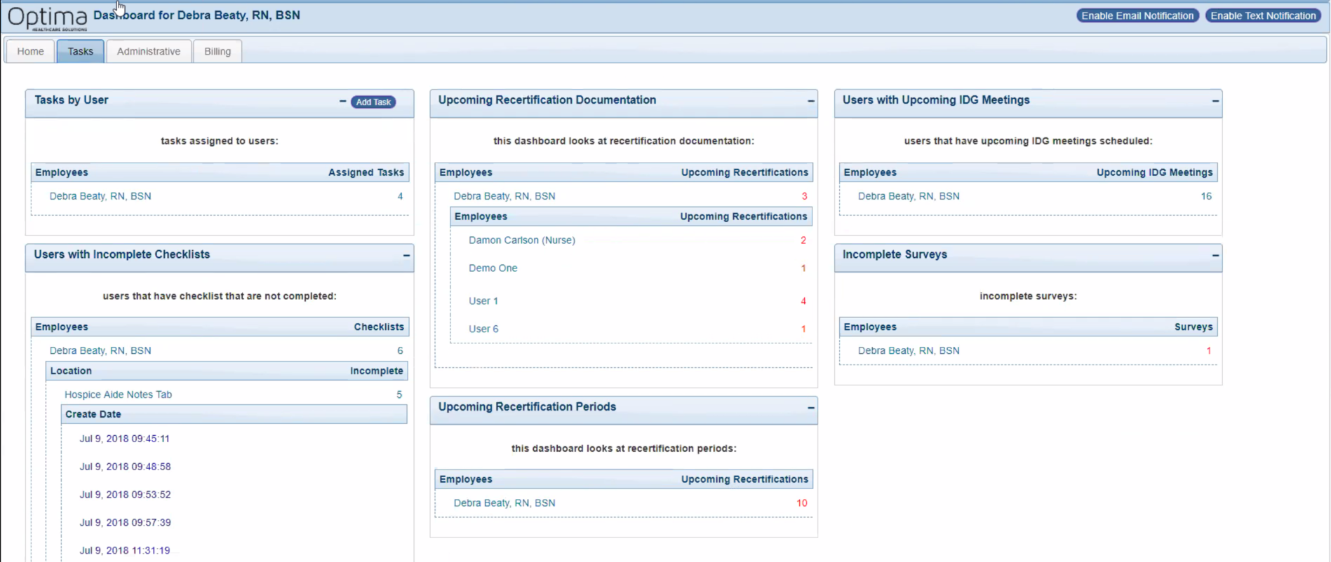 Role-based dashboards with alerts so nothing falls behind