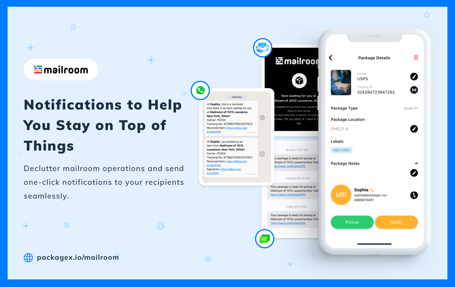 Notify recipients in just a click via email, SMS, WhatsApp, and more.