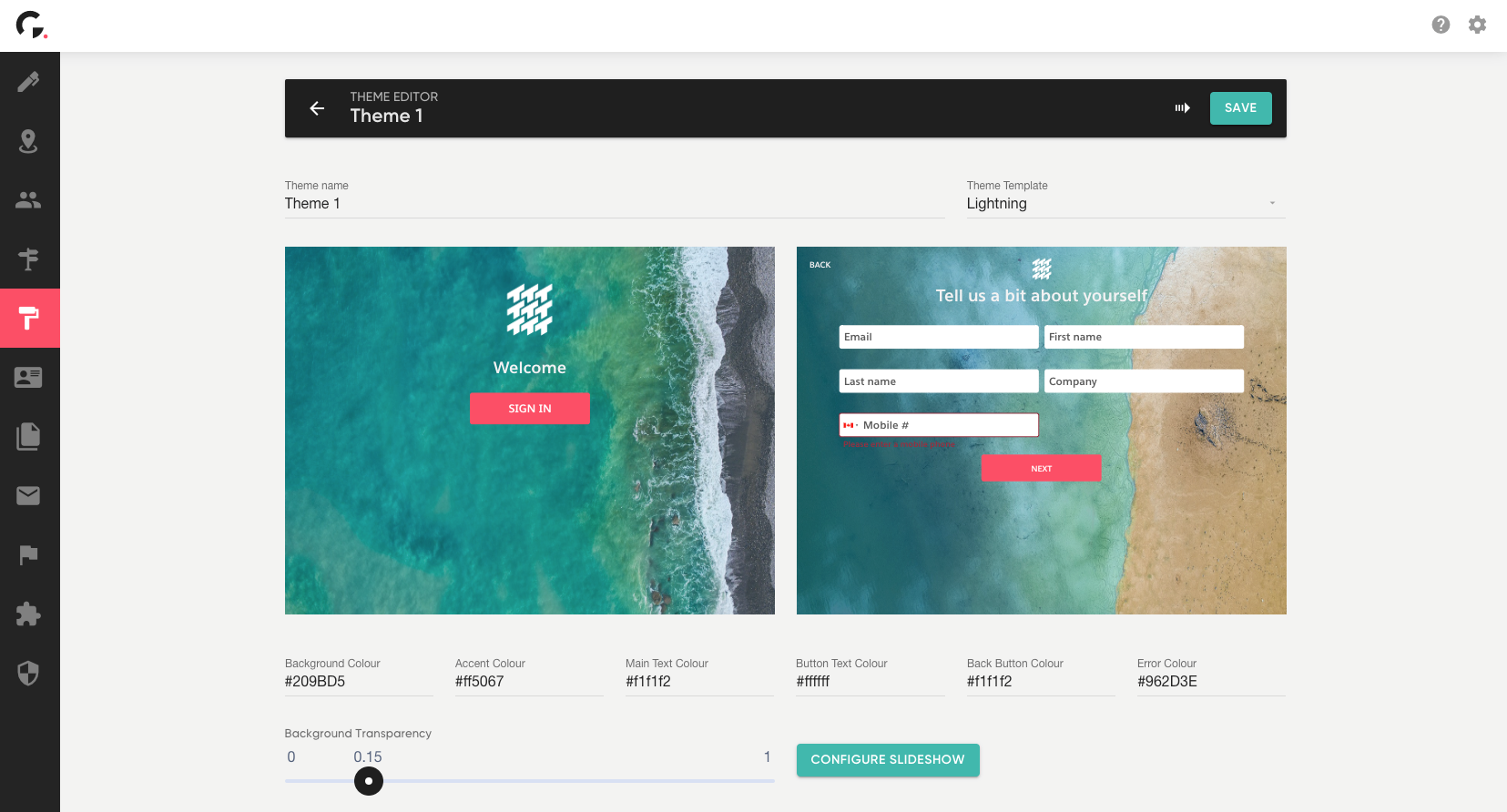 Traction Guest theme editor