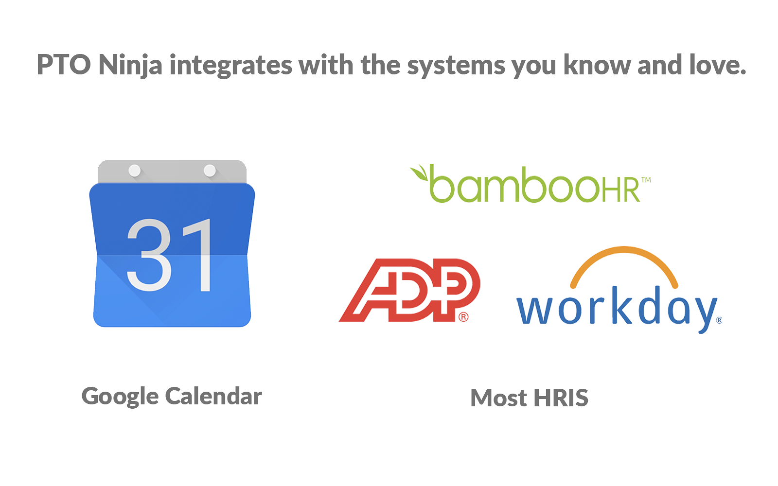 With integrations in GSuite, Outlook, and most HRIS - including BambooHR, ADP, Workday and more -  PTO Ninja is built to handle all of your time off needs.