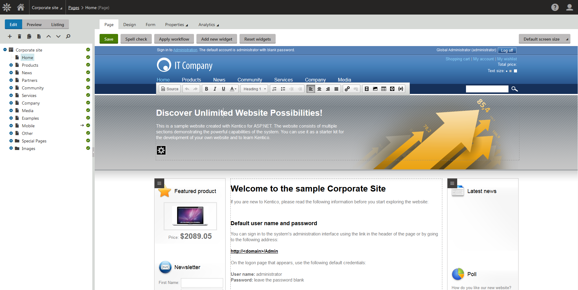 Easily edit and preview the website's design, text, photos etc. in Xperience