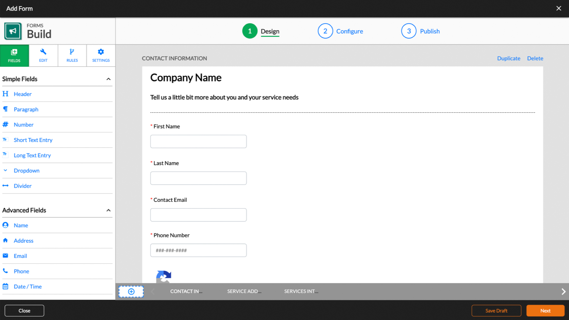 "See the NEW Forms in action! This Form builder is simple to use, and extremely powerful. Works for any purpose - building estimates, collecting leads, surveys, or even ""Job Checklists."""