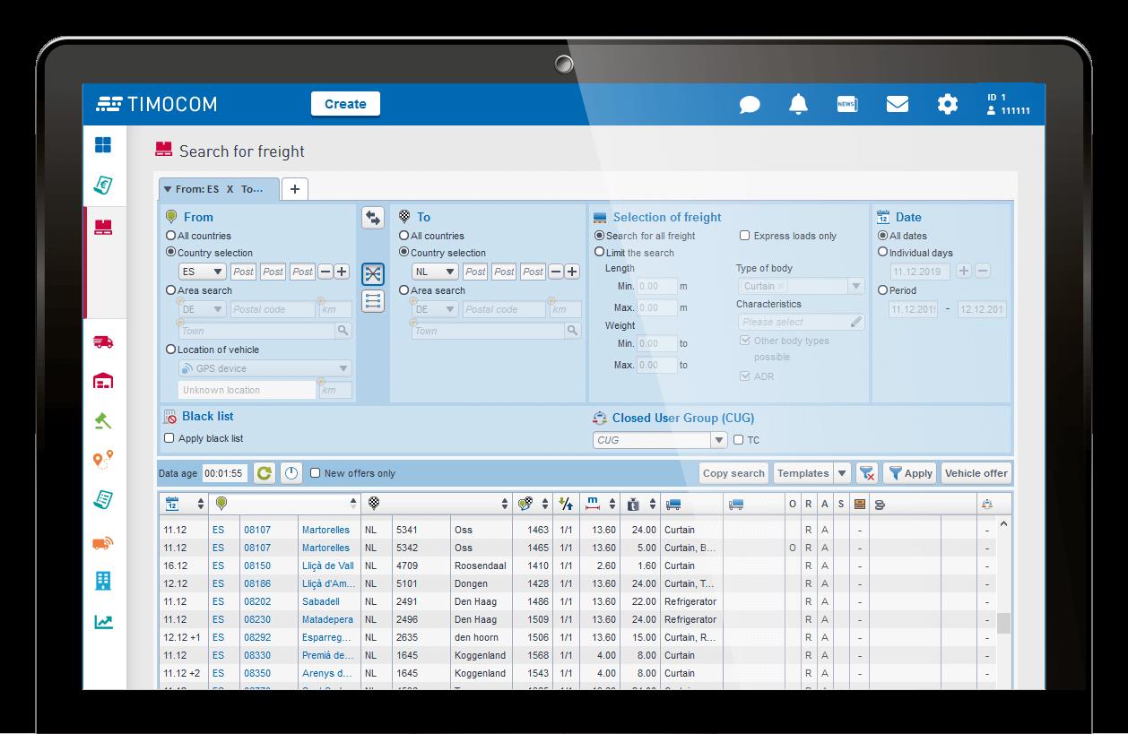 TIMOCOM Smart Logistics System freight details