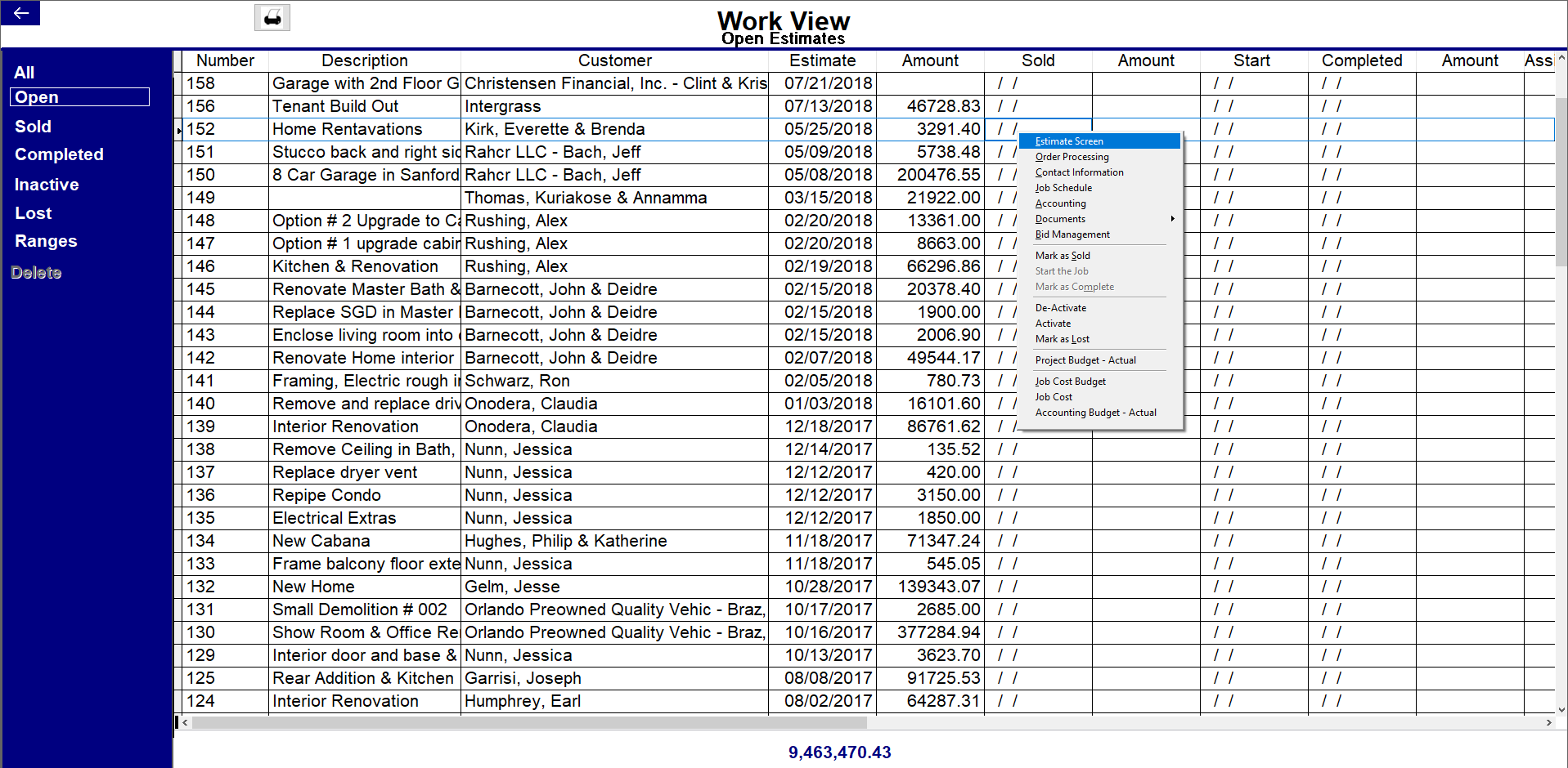 Contractor's Office Software - Work view
