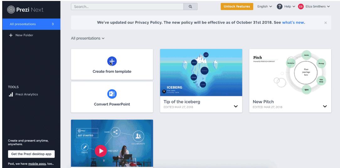 Prezi Software - Prezi Business creating new presentation