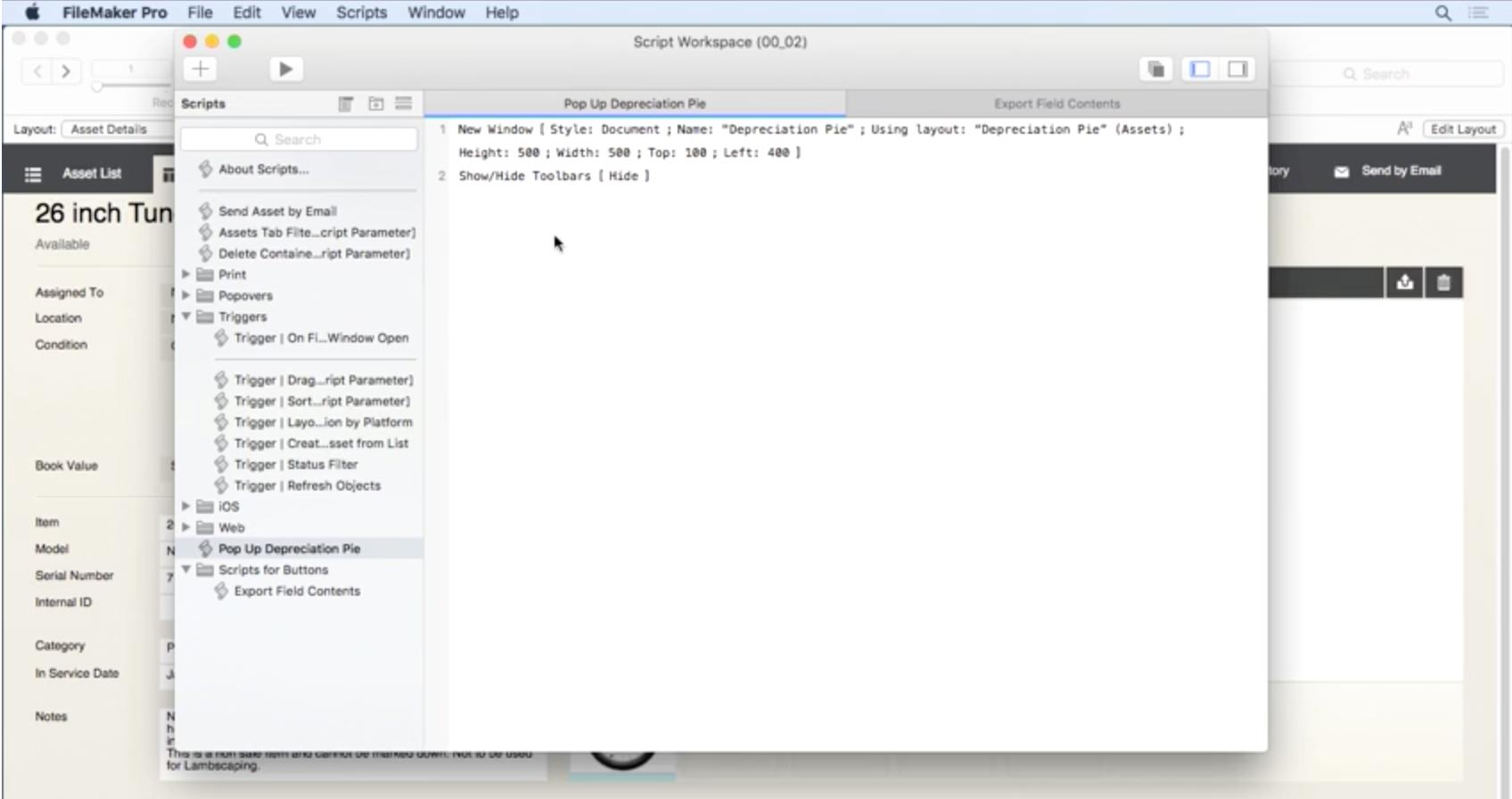 Claris FileMaker Software - Script workspace