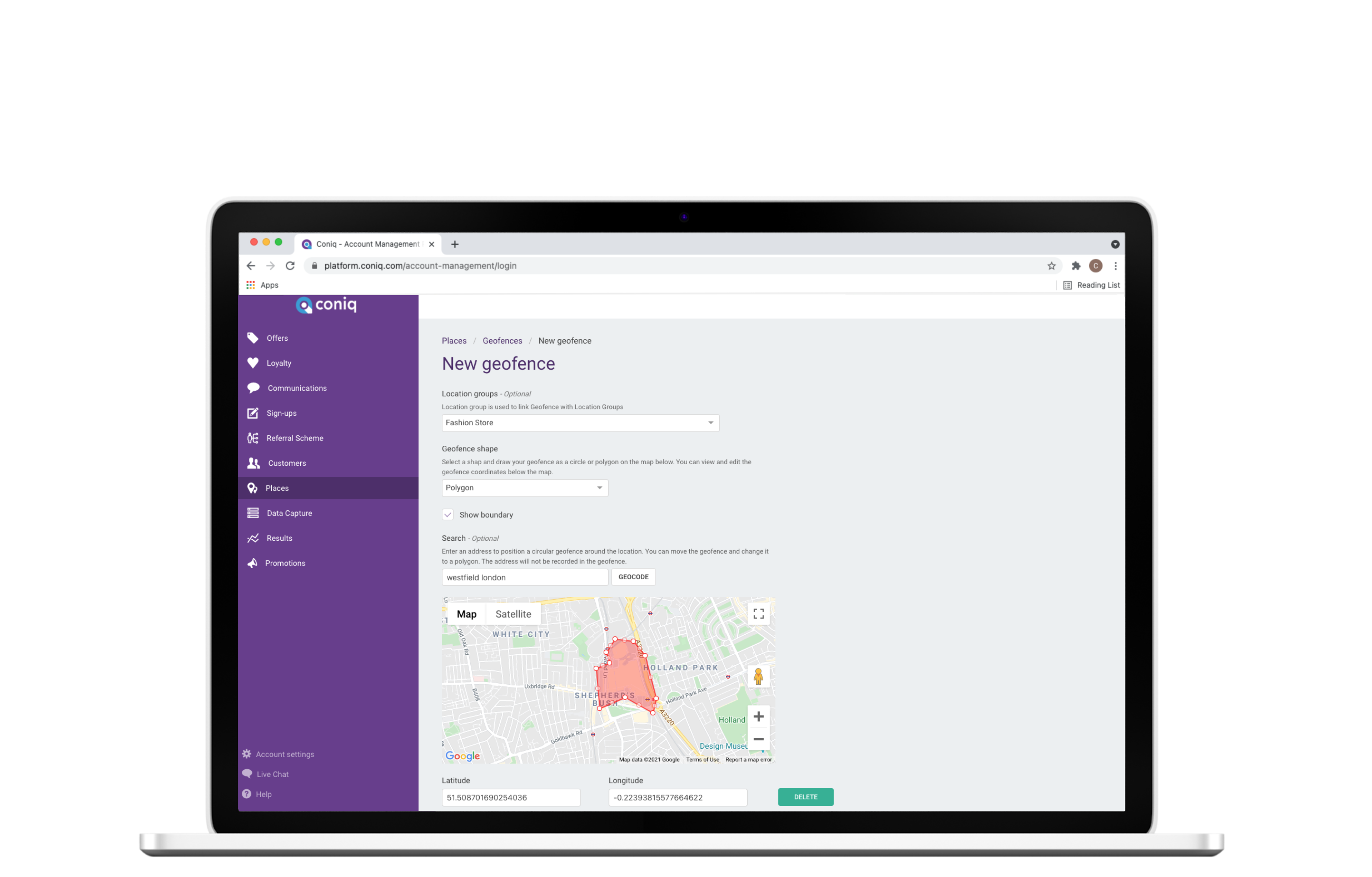 IQ Connect Platform - Customize your Geo fences + proximity marketing and geo loyalty