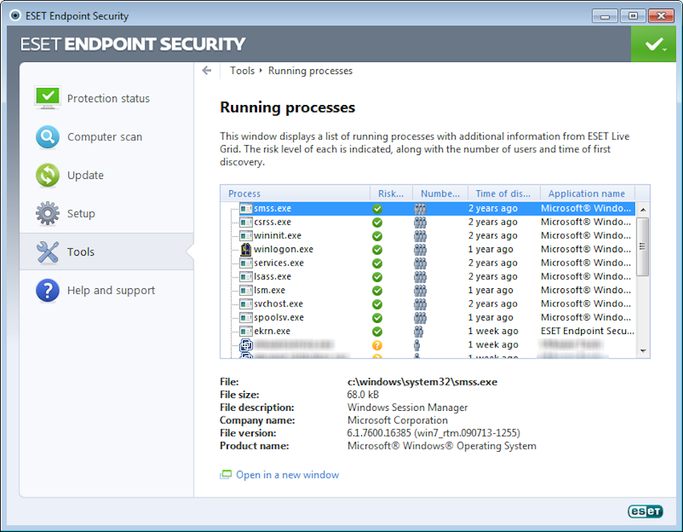 ESET Endpoint Security running processes