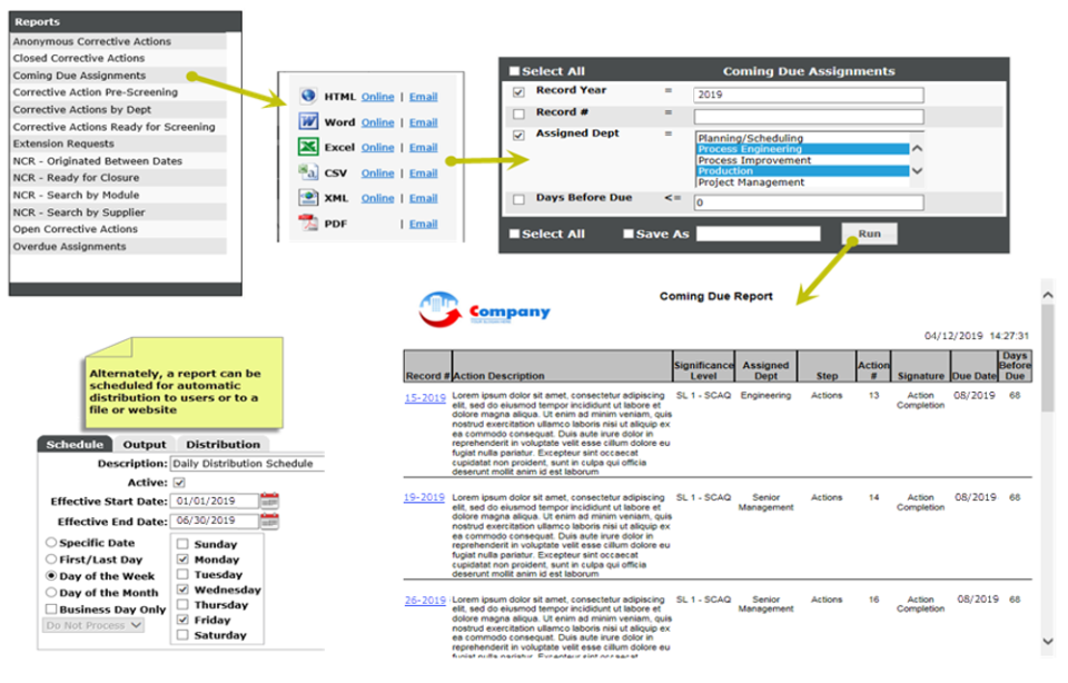 BPI System Software - Reporting – Ad-hoc reports, made available to users in multiple formats on the front dashboard, can be configured to present run-time filters to the end user.  They can also be scheduled for automatic distribution on a periodic basis.