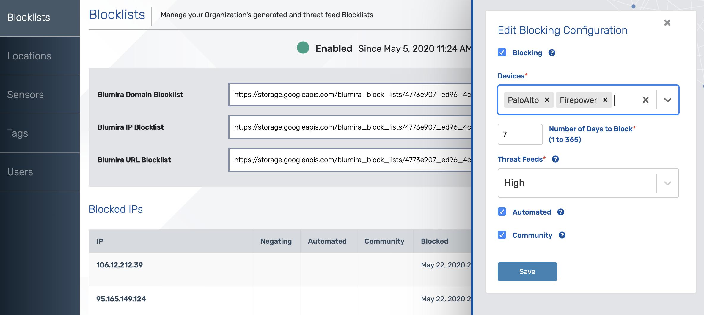 Blumira Automated Block Lists