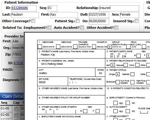 Virtual Benefits Administrator patient details screenshot.