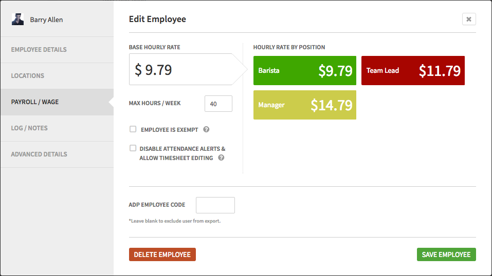Employee hourly pay rates can be added and edited