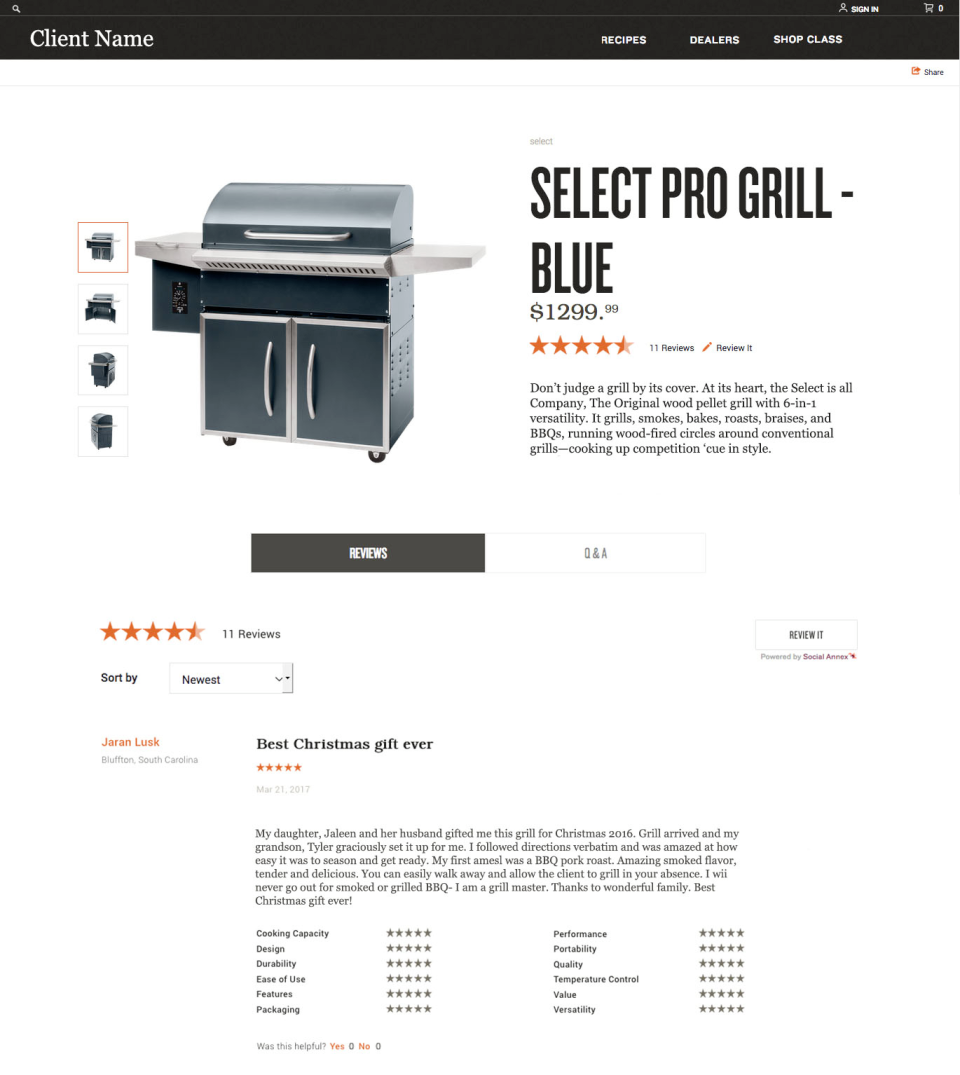 Annex Cloud displays customer reviews alongside products