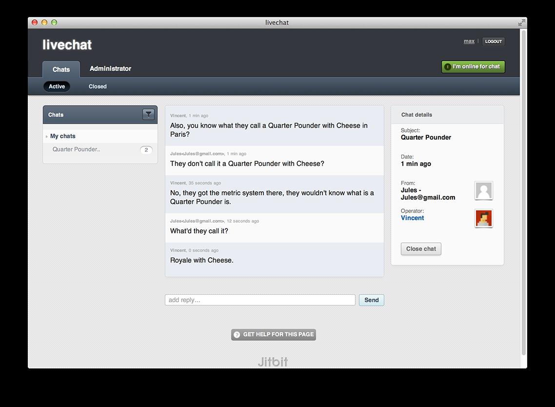 JitBit Help Desk live chat tool