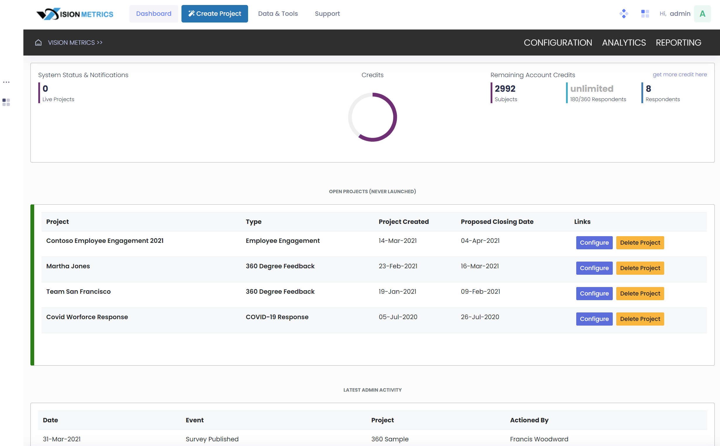 Manage projects in you dashboard