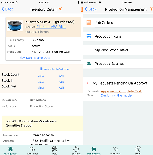Mobile App View