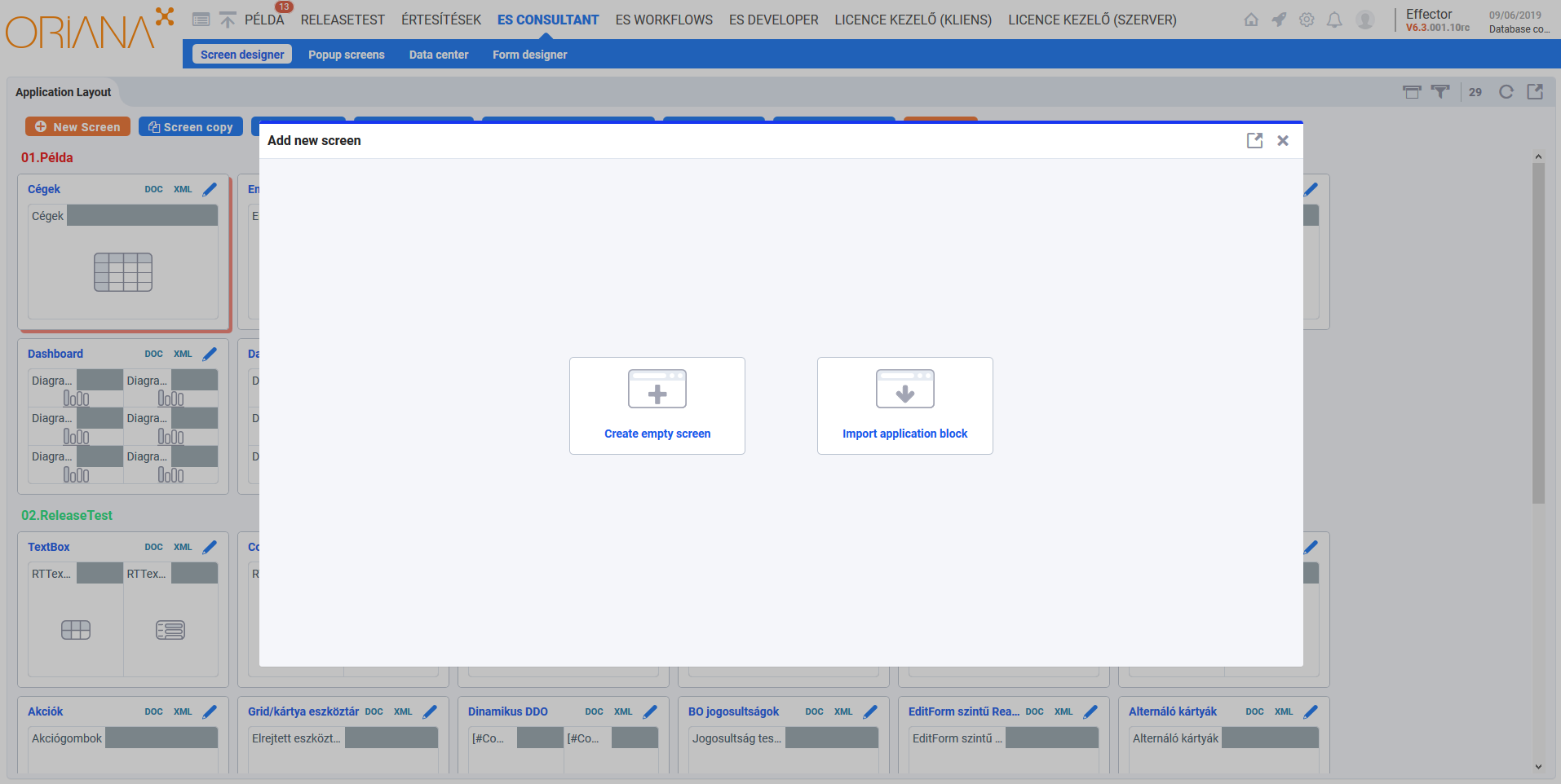 Effector add new screen