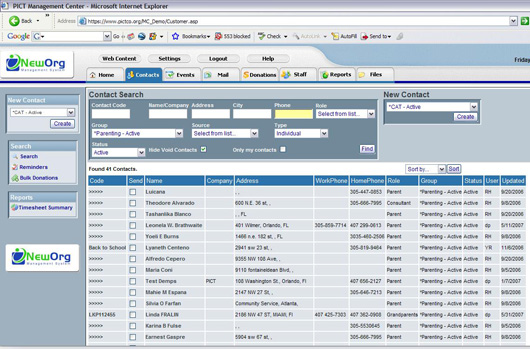 Client/program information management features for tracking constituent data and activity
