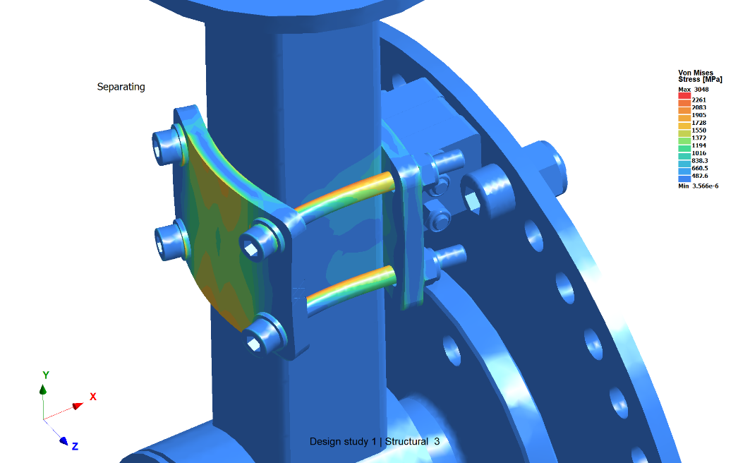Nonlinear analysis accurately reproducing the contact between bolt and plate