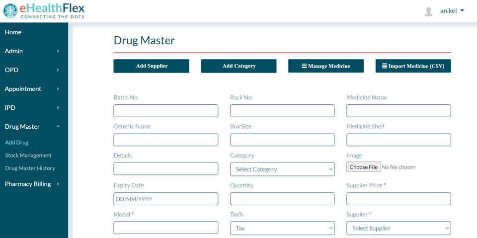 eHealthFlex drug database