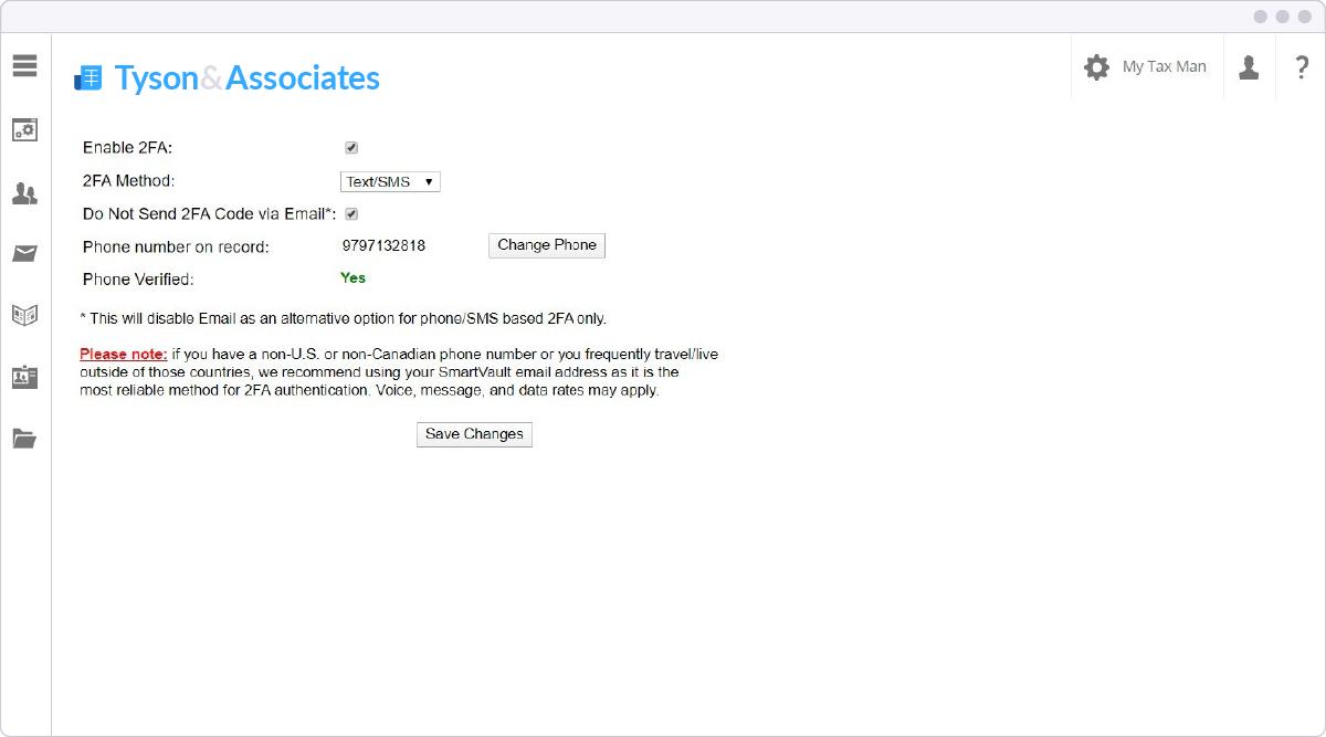 SmartVault customizable two-factor authentication