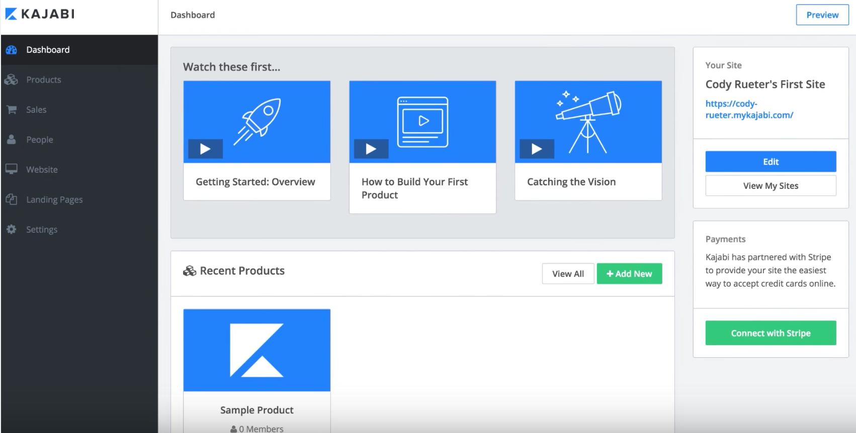 Kajabi screenshot: Access tasks from Kajabi's main dashboard