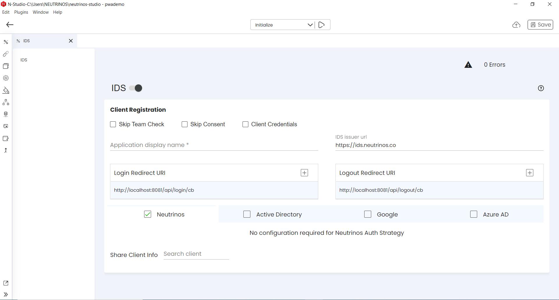 Neutrinos IDS Configuration Page