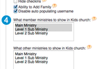 Web Church Connect screenshot: Users can specify different settings and user permissions for checking in children on Web Church Connect