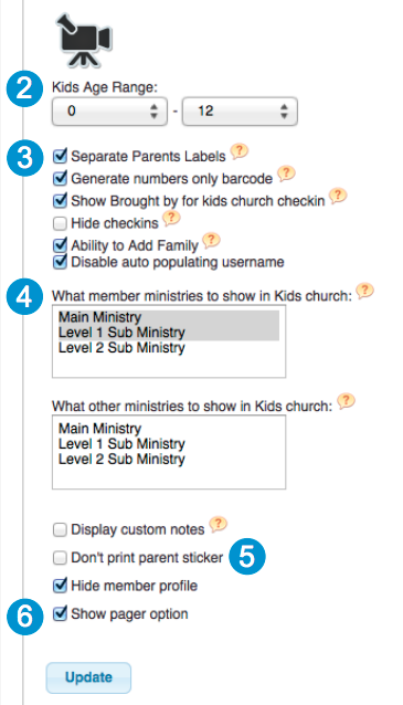 Users can specify different settings and user permissions for checking in children on Web Church Connect