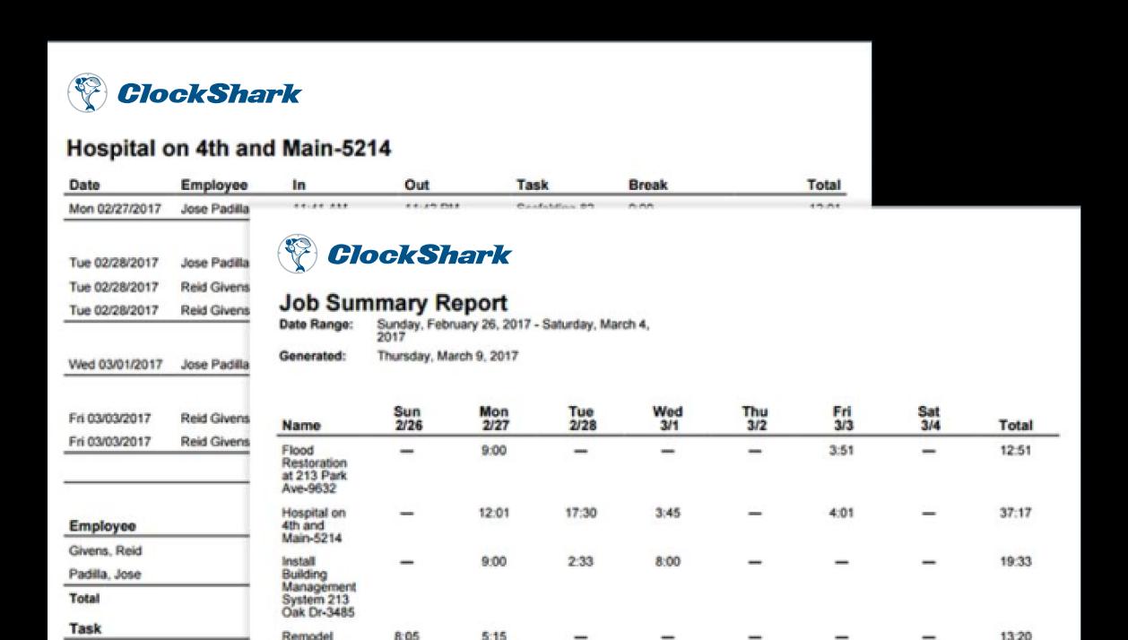 ClockShark Software - Reporting