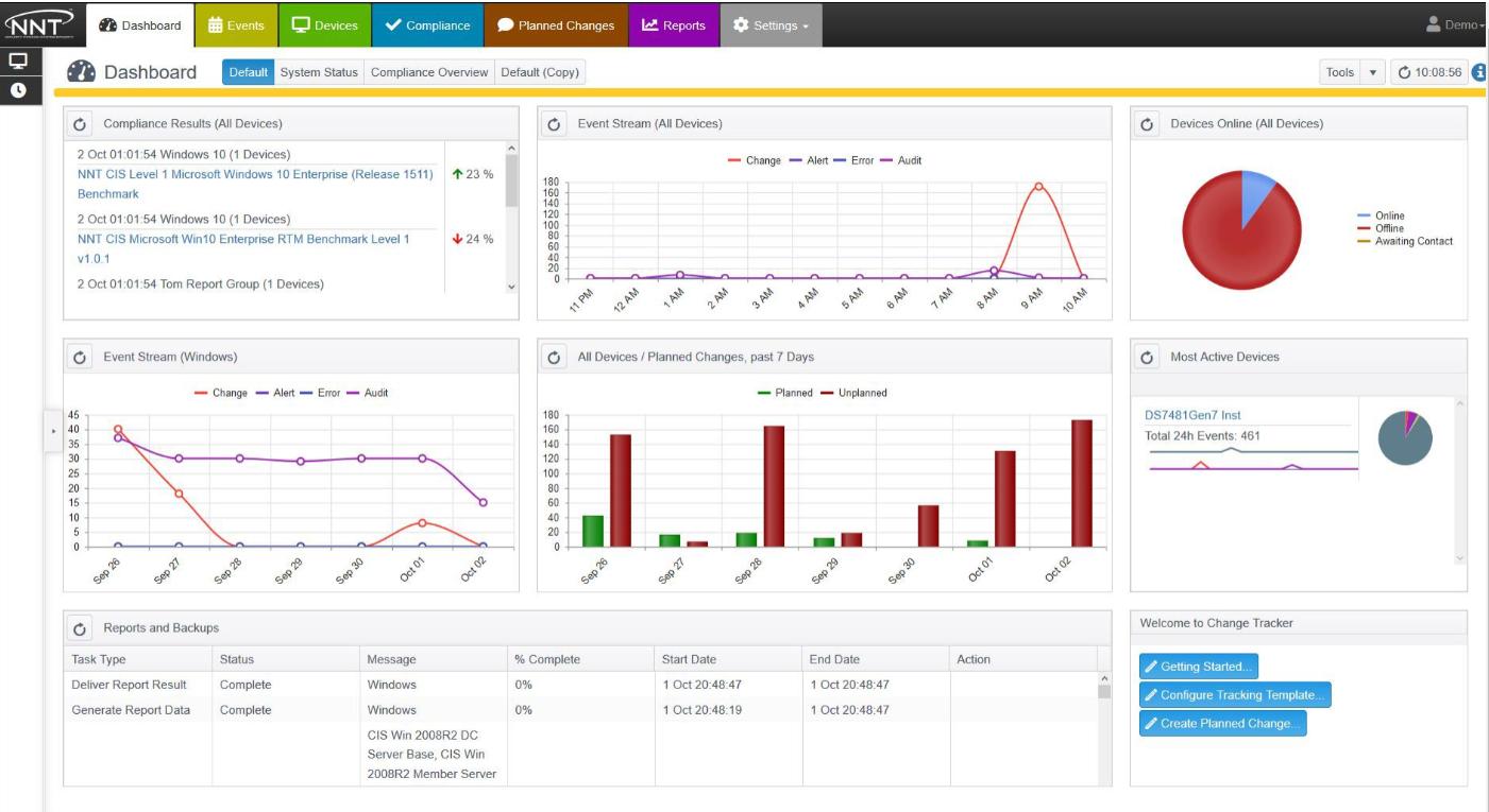 NNT Change Tracker dashboard view